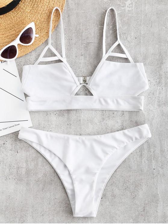 affordable ZAFUL Cut Out Bralette Bikini Set - WHITE M