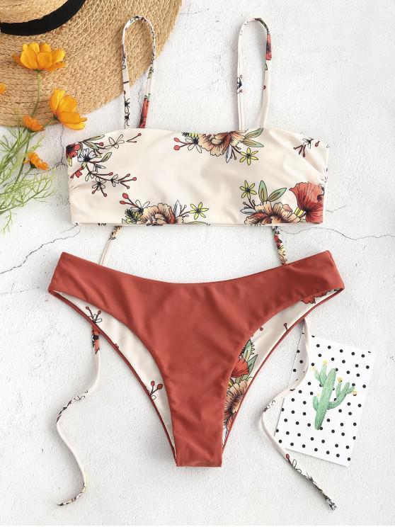 lady ZAFUL Floral Tie Reversible Bikini Set - MULTI-A XL