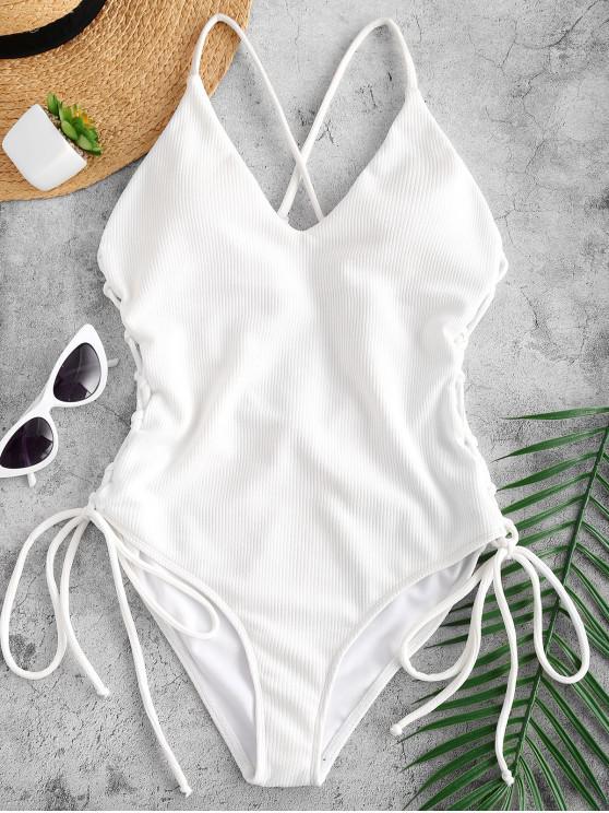shop Lace-up Cross High Cut Swimsuit - WHITE L