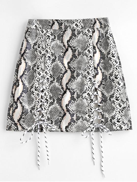 lady Snake Print Lace Up Faux Leather Mini Skirt - MULTI L