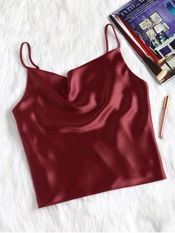 unique Satin Oversized Cami Tank Top - RED WINE S