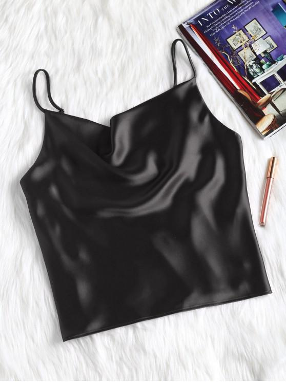 trendy Satin Oversized Cami Tank Top - BLACK S
