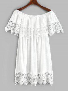 Off Shoulder Foldover Crochet Cover Up Dress - White