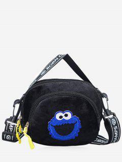 Frog Velvet Zipper Crossbody Bag - Negro