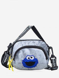 Frog Velvet Zipper Crossbody Bag - Gray