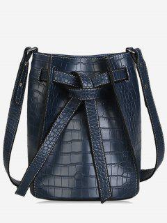 Faux Leather Tie Drawstring Bucket Single Shoulder Bag - Blue
