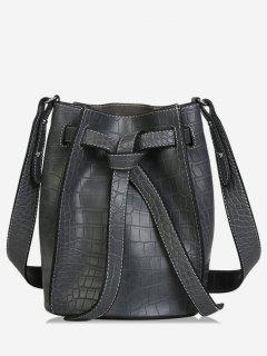 Faux Leather Tie Drawstring Bucket Single Shoulder Bag - Gray