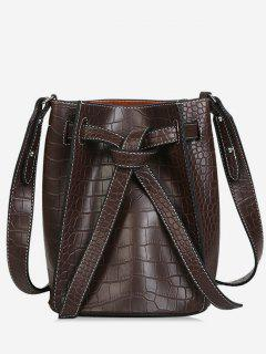 Faux Leather Tie Drawstring Bucket Single Shoulder Bag - Deep Brown