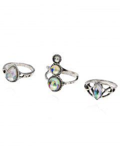 Acrylic Vintage Hollowed Water Drop Ring Set - Silver