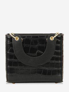 Small Striped Vintage Leather Square Shoulder Bag - Black