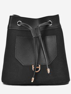 Frosted Pocket Drawstring Bucket Single Shoulder Bag - Black