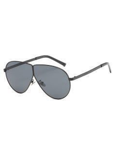 Integrated Unisex Metal Frame Frog Sunglasses - Black
