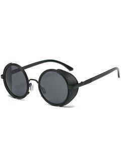 Unisex Round Frame Stylish Sunglasses - Black