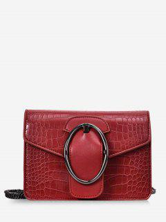Oval Metal Decor Chain Crossbody Bag - Red