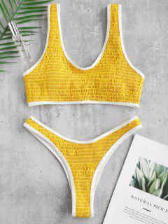 Bikini Estilo Pipa Con Contraste Smocked De ZAFUL - Amarillo S