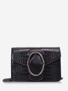 Oval Metal Decor Chain Crossbody Bag - Black