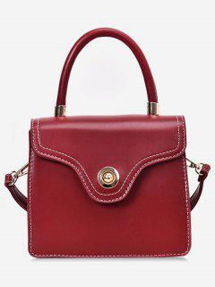 Contrast Stitching Crossbody Bag - Red