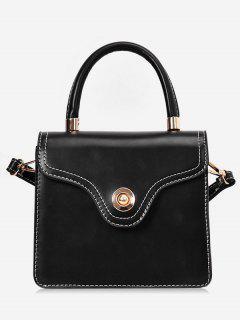 Contrast Stitching Crossbody Bag - Black