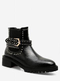 Studded Strap Short Chelsea Boots - Black Eu 35