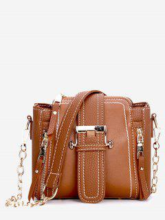 Pendant Zip Belted PU Shoulder Bag - Brown