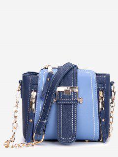 Pendant Zip Belted PU Shoulder Bag - Silk Blue
