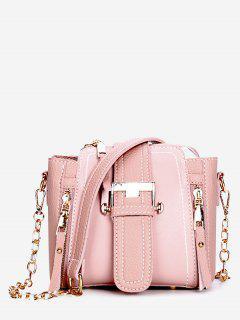 Pendant Zip Belted PU Shoulder Bag - Pink