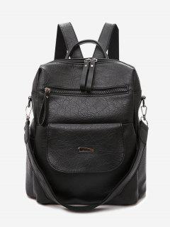 Overlap Multifunction PU Backpack - Black
