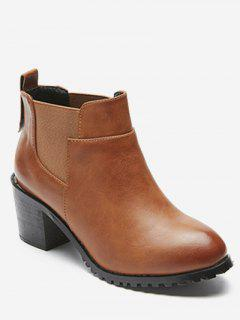 Mid Chunky Heel Chelsea Boots - Camel Brown Eu 40