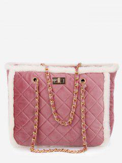 Diamond Chain Fuzzy Shoulder Bag - Pink