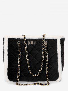 Diamond Chain Fuzzy Shoulder Bag - Black