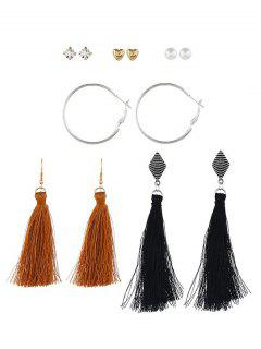 Stylish Tassel Rhinestone Design Earrings Set - Multi