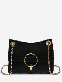 Circle Decor Crossbody Bag - Black