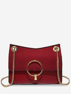 Circle Decor Crossbody Bag - Red Red