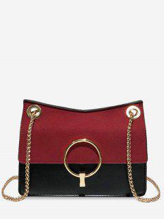 Circle Decor Crossbody Bag - Red Wine