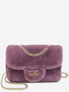 Chain Fluffy Faux Fur Crossbody Bag - Dull Purple