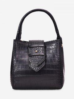 Solid Belt Decor Tote Bag - Black