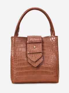 Solid Belt Decor Tote Bag - Light Brown