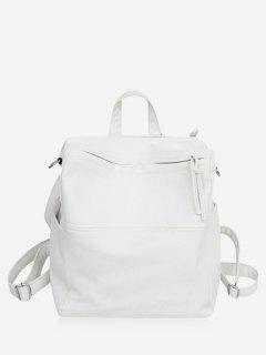 Textured Design Soft Zipper Backpack - White