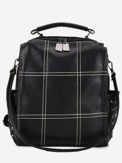PU Leather Rivet Design Backpack - Black