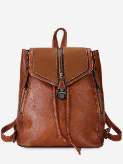 Solid Color PU Leather Drawstring Backpack - Brown