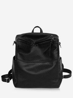 Textured Design Soft Zipper Backpack - Black