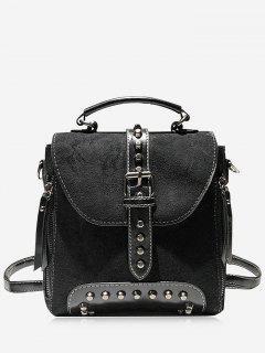 Metal Rivet Decoration Dull Polish Backpack - Black