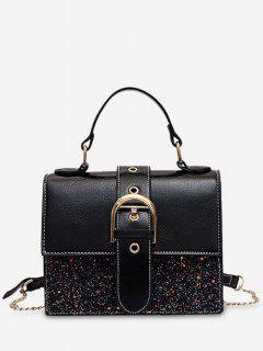 Sequin PU Square Crossbody Bag - Black