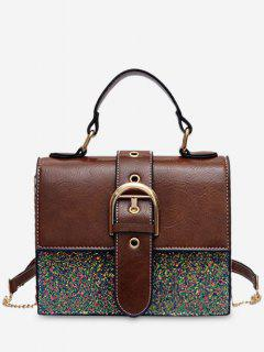 Sequin PU Square Crossbody Bag - Brown