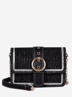 Retro Braid Pattern Chain Crossbody Bag - Black