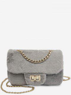 Chain Fluffy Faux Fur Crossbody Bag - Gray Cloud