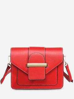 Contrast Stitching Design Crossbody Bag - Red