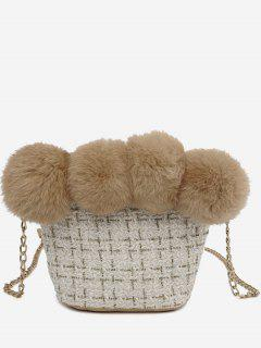 Furry Ball Decor Woolen Bucket Bag - White