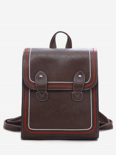 Solid Color Retro Oft Backpack - Deep Brown