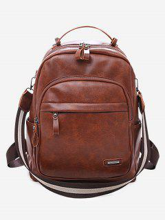 PU Leather Zipper Backpack - Light Brown